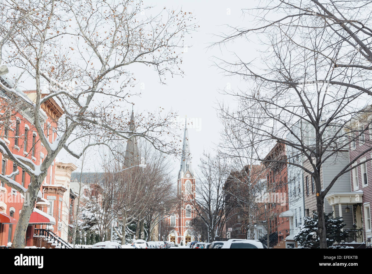 View of snow covered Milton Street. Greenpoint, Brooklyn. New York City. - Stock Image
