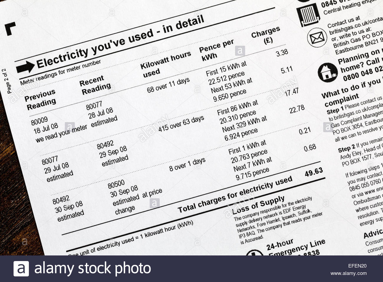 Electricity Bill showing estimated readings - Stock Image