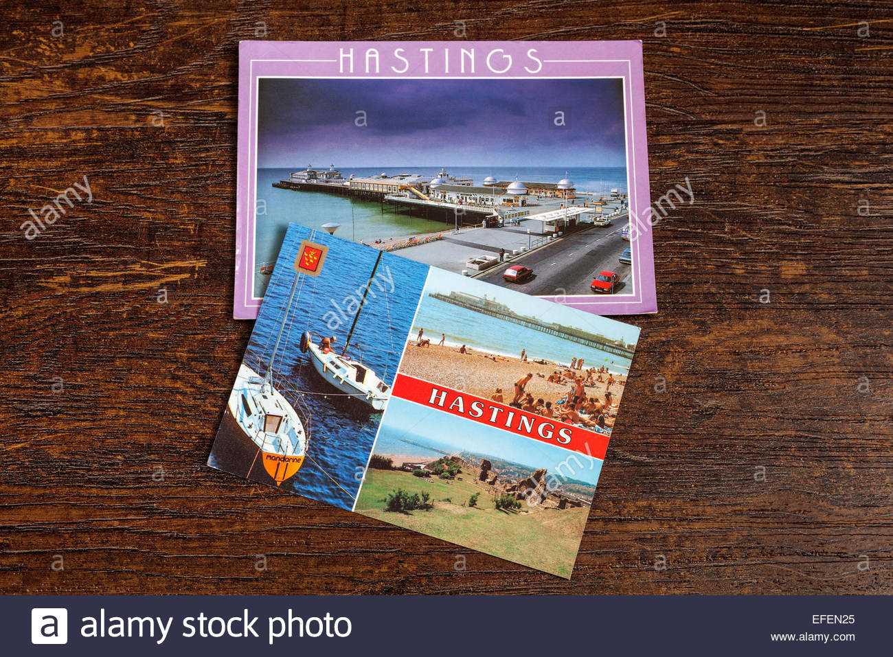Old postcards of Hastings in East Sussex, UK - Stock Image