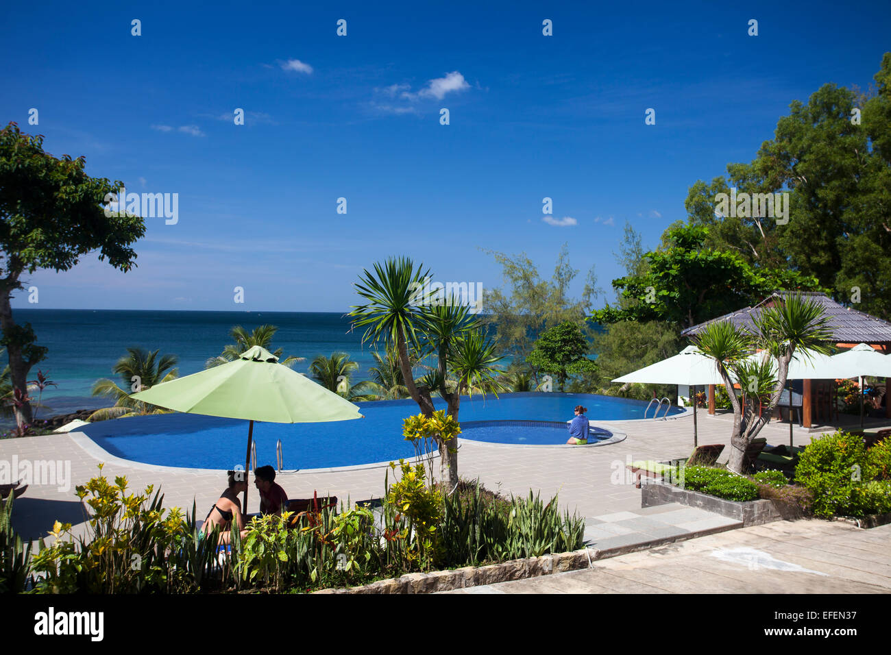 Resort with swimming pool in Eco Lodge Resort, Phu Quoc Icland, Vietnam - Stock Image
