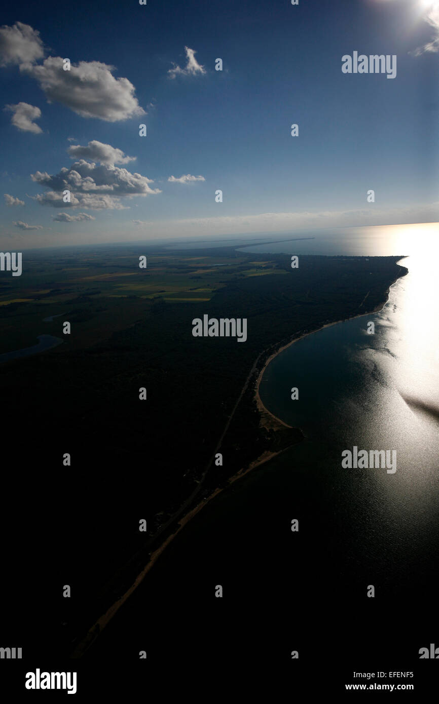 Saginaw Bay, Michigan and adjoining farmland.  Looking towards Caseville and Wild Fowl Bay.  The watershed contains - Stock Image