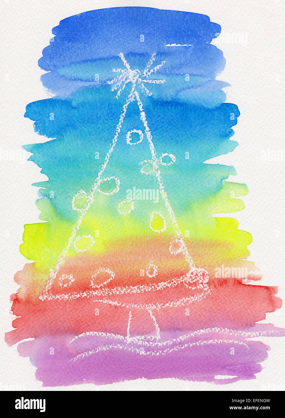 Watercolor painting of a decorated Christmas tree in rainbow colors - Stock Image