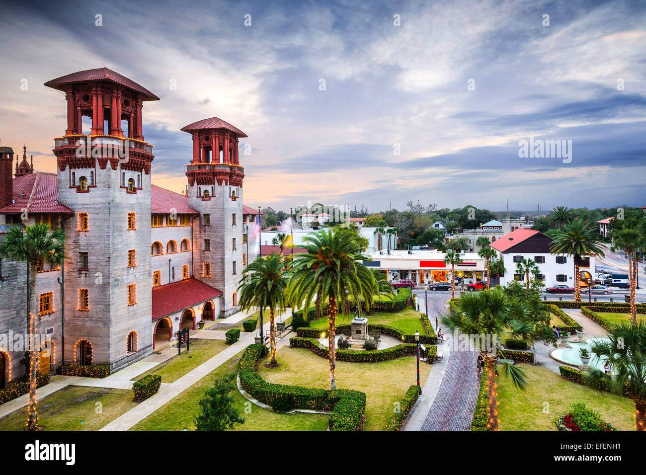 St. Augustine, Florida, USA town view at city hall and Alcazar plaza. - Stock Image