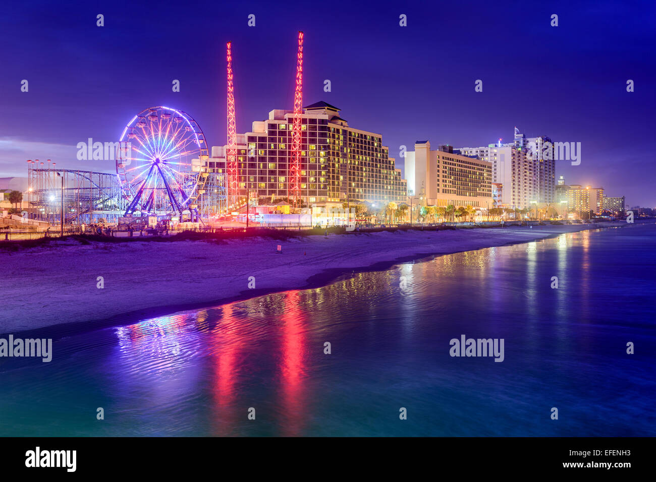 Daytona Beach, Florida, USA beachfront skyline at night. - Stock Image