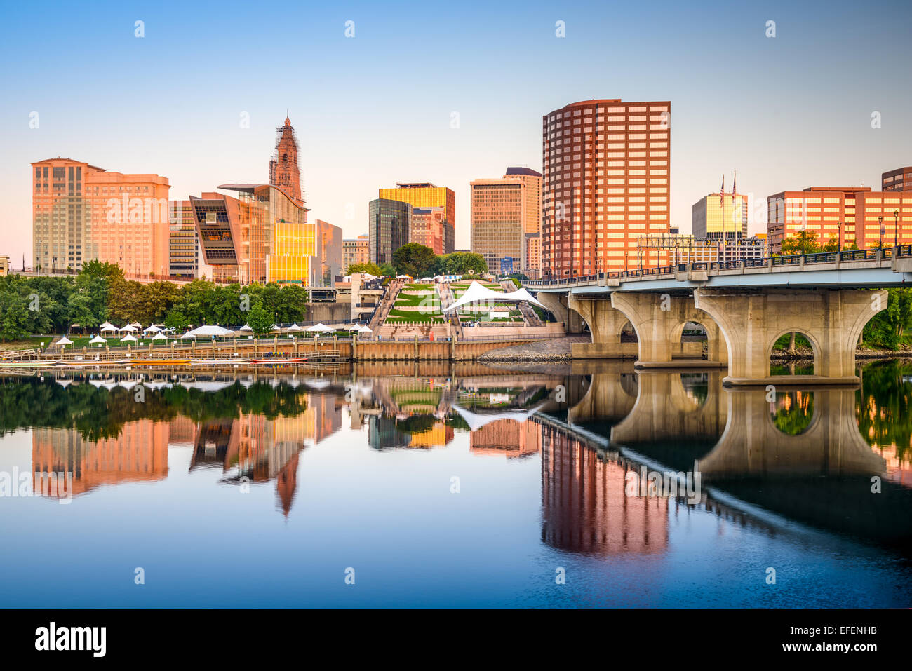Hartford, Connecticut, USA downtown city skyline on the river. - Stock Image