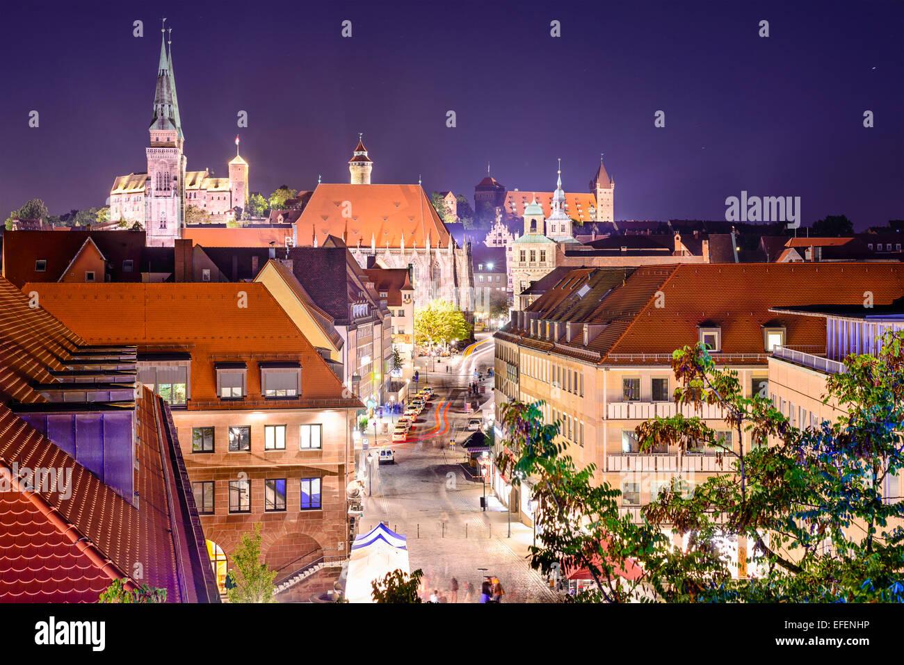 Nuremberg, Germany old town skyline. - Stock Image