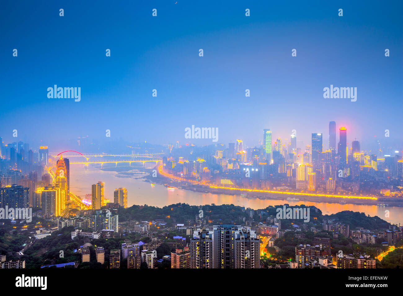 Chongqing, China downtown city skyline over the Yangtze River. - Stock Image