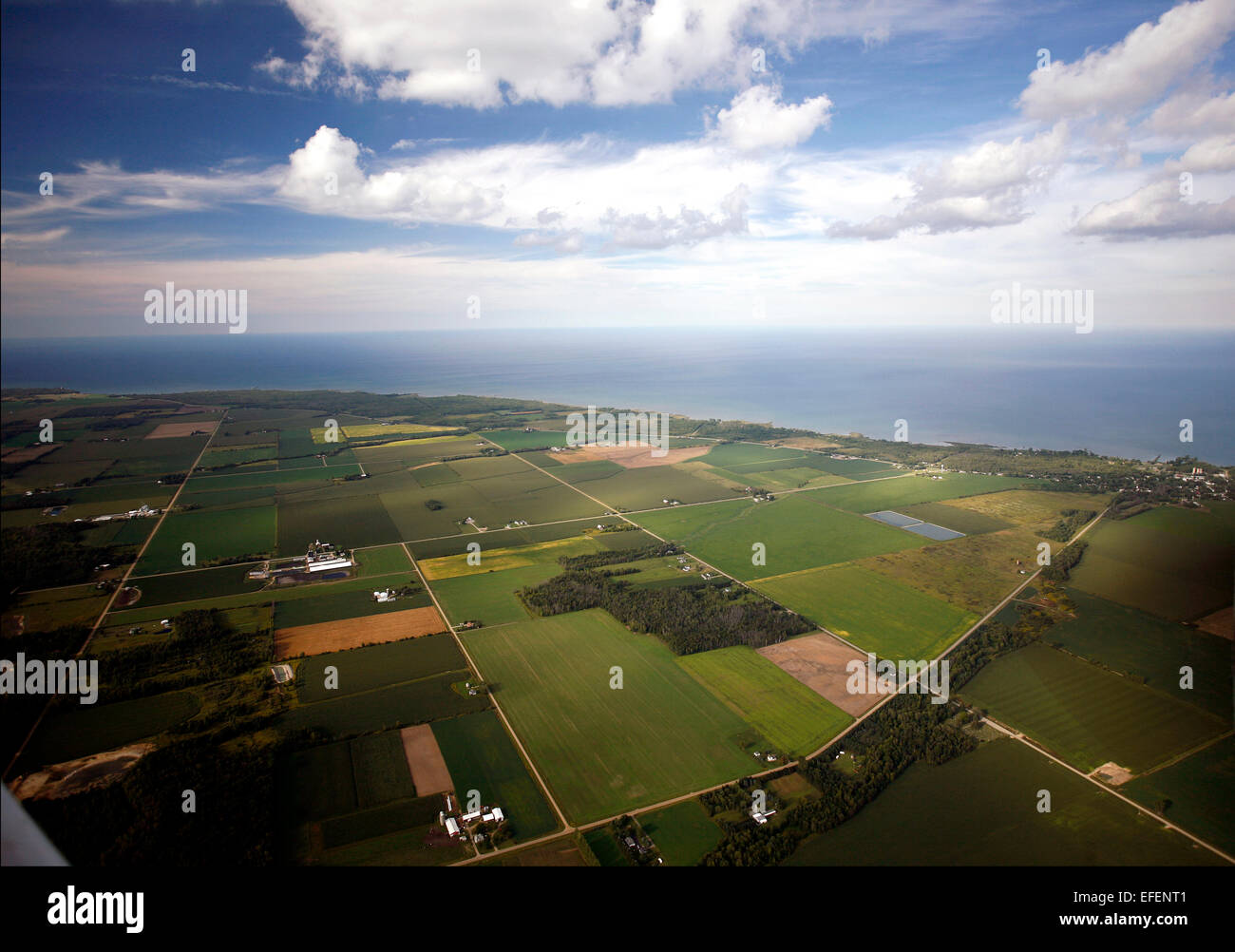Farmland near Port Hope in Huron County, Michigan in the Saginaw Bay Watershed.  View is looking out towards Lake - Stock Image