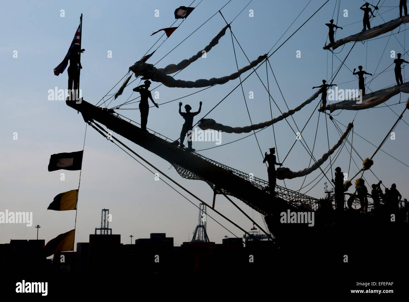 Indonesian navy cadets perform parade roll before the last sail of original Dewaruci tall ship in 2012. - Stock Image