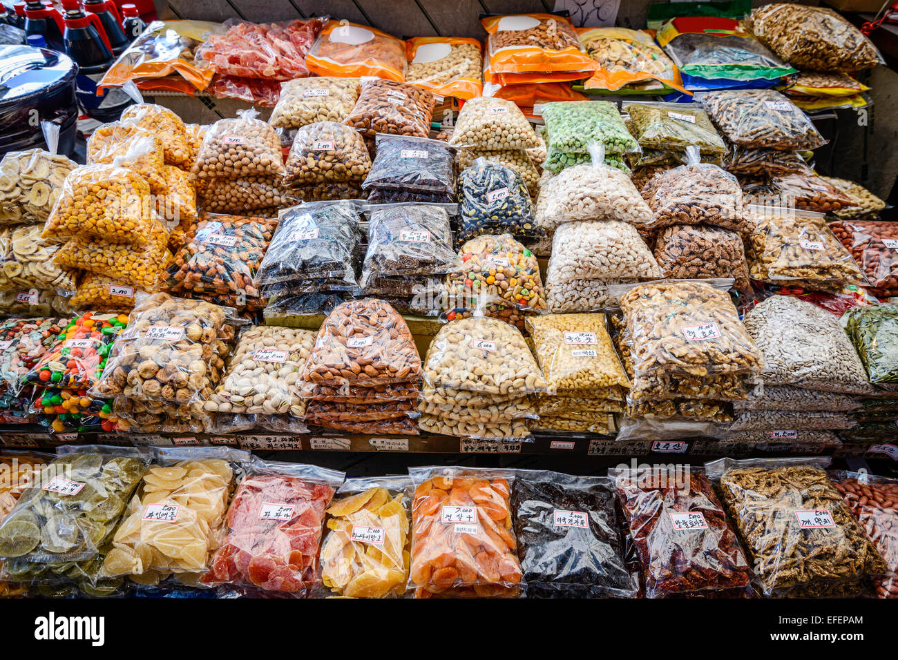 Packaged snacks at Gwangjang Market in Seoul, South Korea. - Stock Image