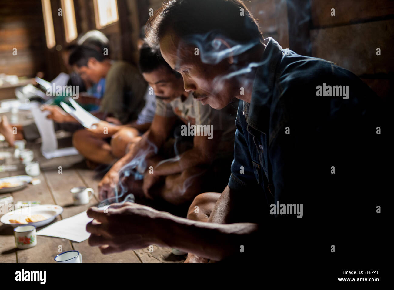 Local community taking questionnaire on a conservation survey in Nanga Raun village, Kapuas Hulu, West Kalimantan, - Stock Image