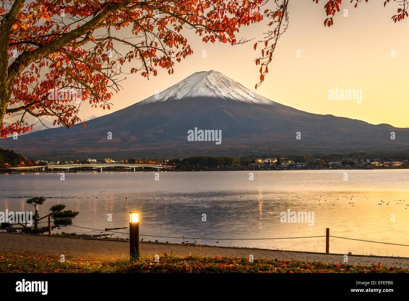 Mt. Fuji with autumn foliage at Lake Kawaguchi in Japan. - Stock Image
