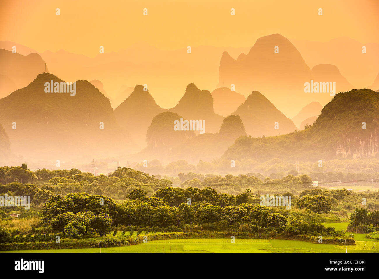 Karst Mountains of Guilin, China. - Stock Image