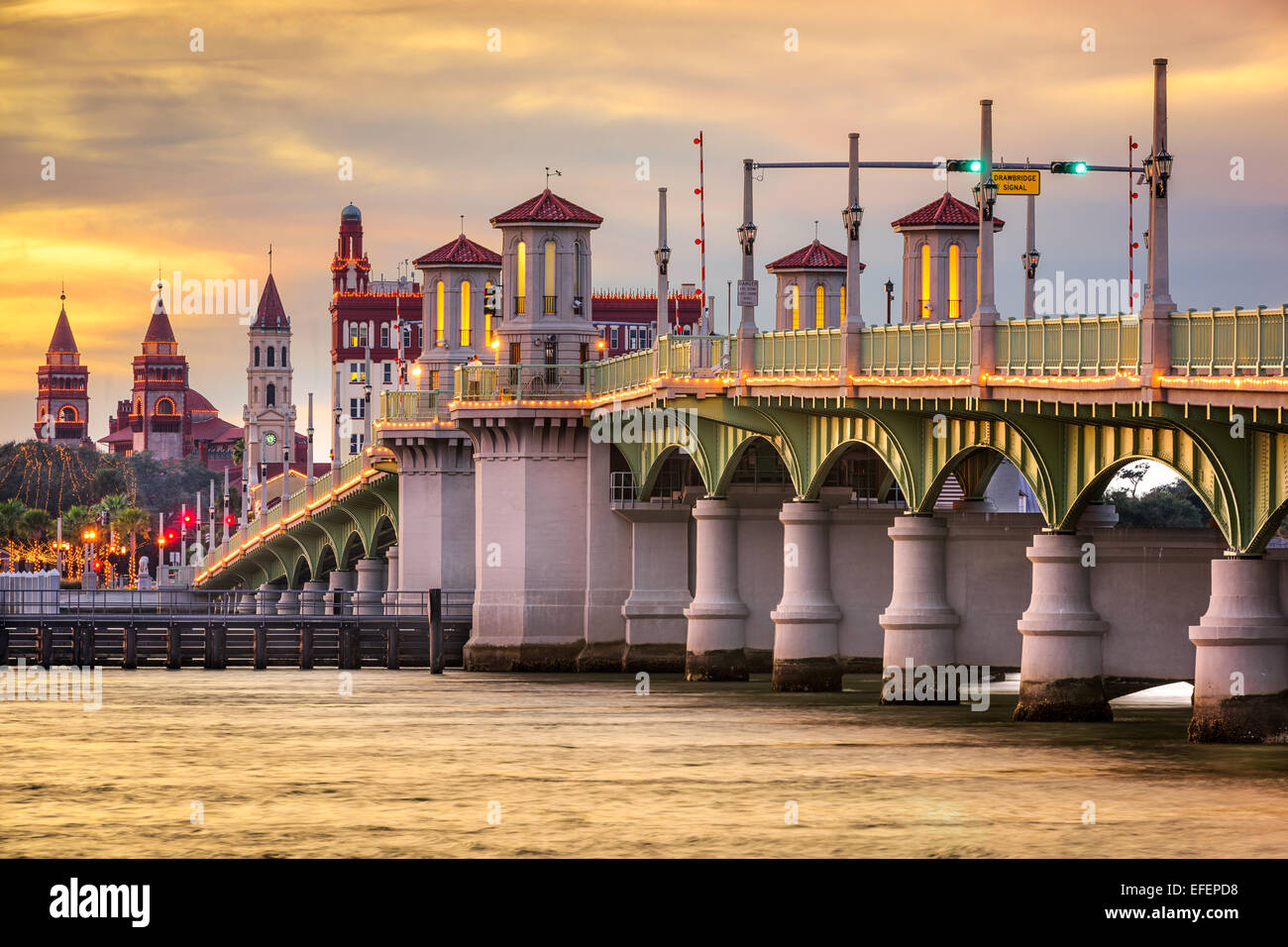 St. Augustine, Florida, USA city skyline and Bridge of Lions. - Stock Image