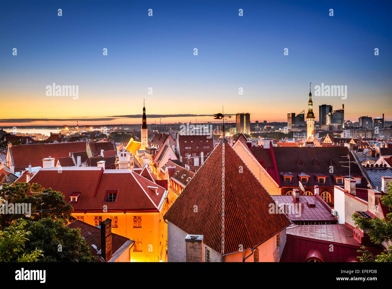 Tallinn, Estonia dawn skyline in the old city. - Stock Image