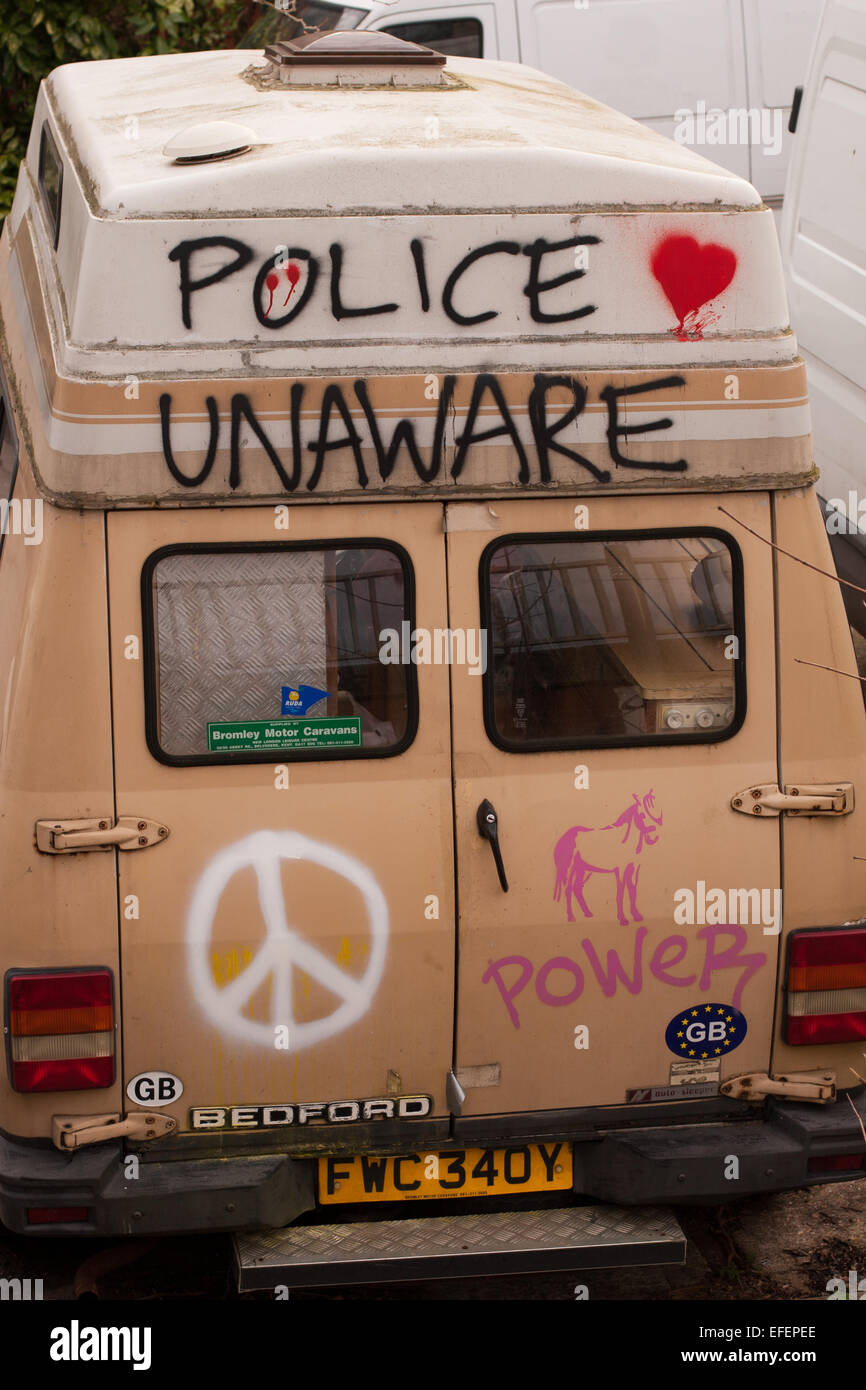 Police Unaware Bedford van - Stock Image