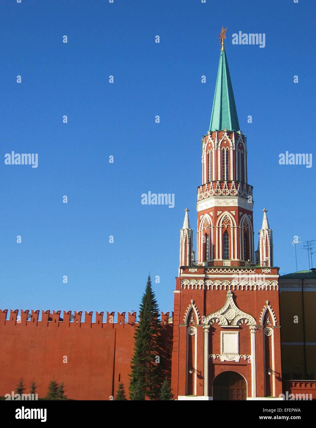 Moscow, Nikolskaya tower of Kremlin fortress. Date of recording 27.04.2008. - Stock Image