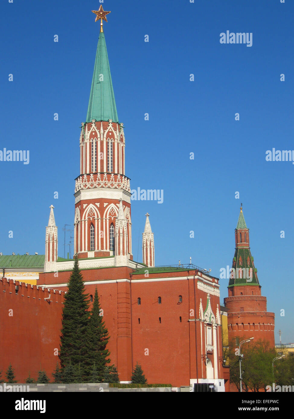 Moscow, two towers of Kremlin fortress. Date of recording 27.04.2008/ - Stock Image