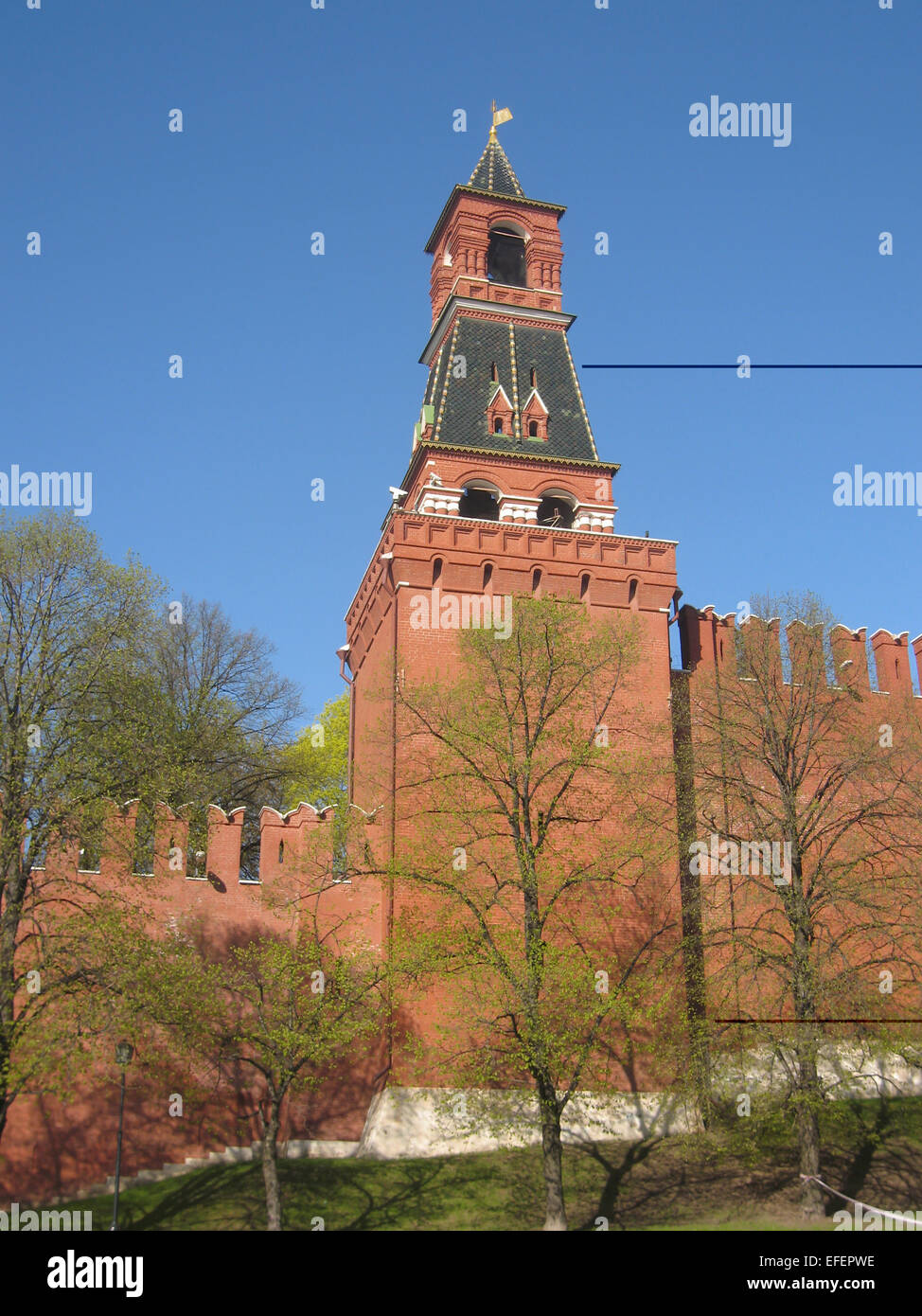 Moscow, one of the towers of Kremlin fortress. Date of recording 27.04.2008. - Stock Image