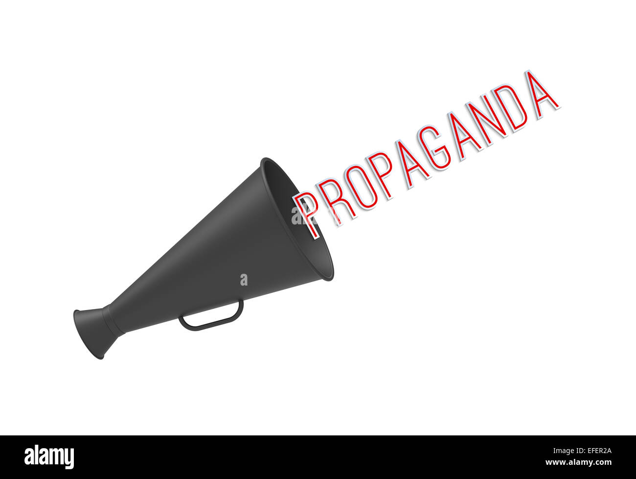 Megaphone on simple white background with pop-up caption 'Propaganda'. Concept of call-for-action, aggressive - Stock Image