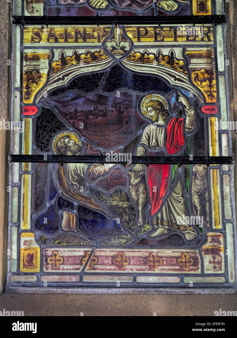 Church stained glass windows that used to be known as 'Poor man's bible' - Stock Image