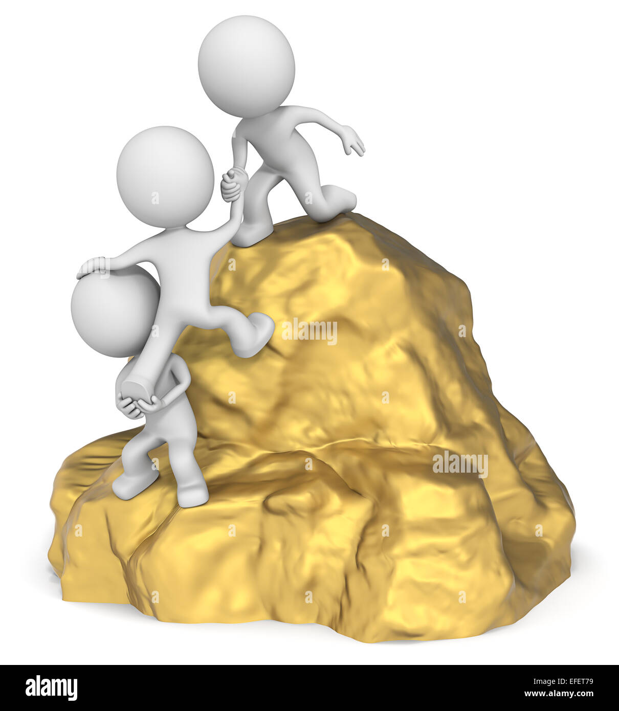 The dude 3D character x3 climbing a Gold Mountain. - Stock Image