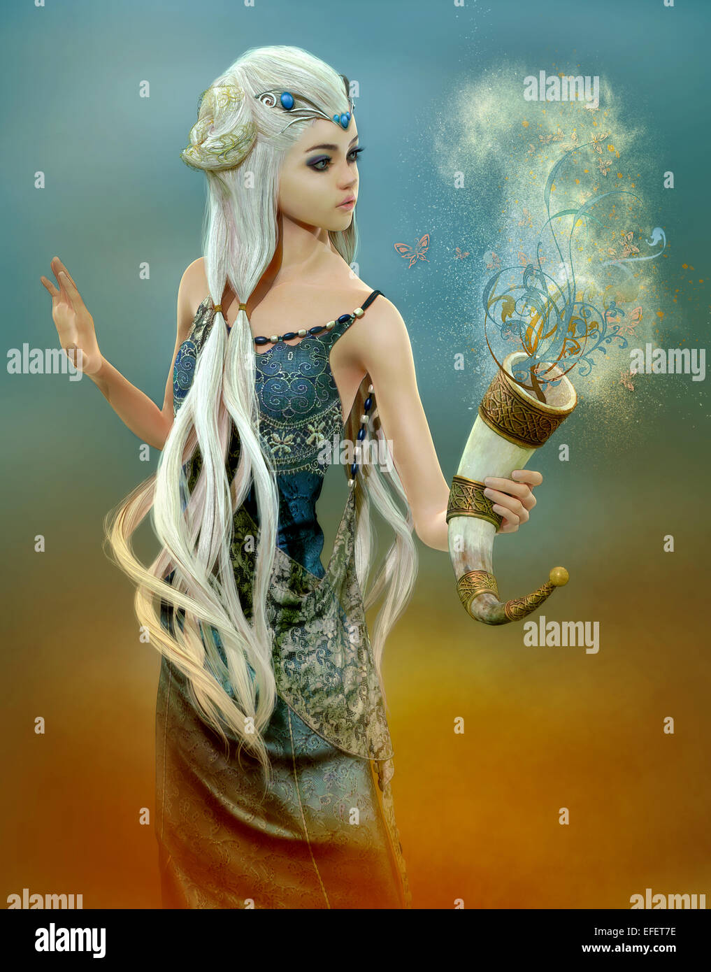 3d computer graphics of a girl with cornucopia Asian fantasy hairstyle - Stock Image