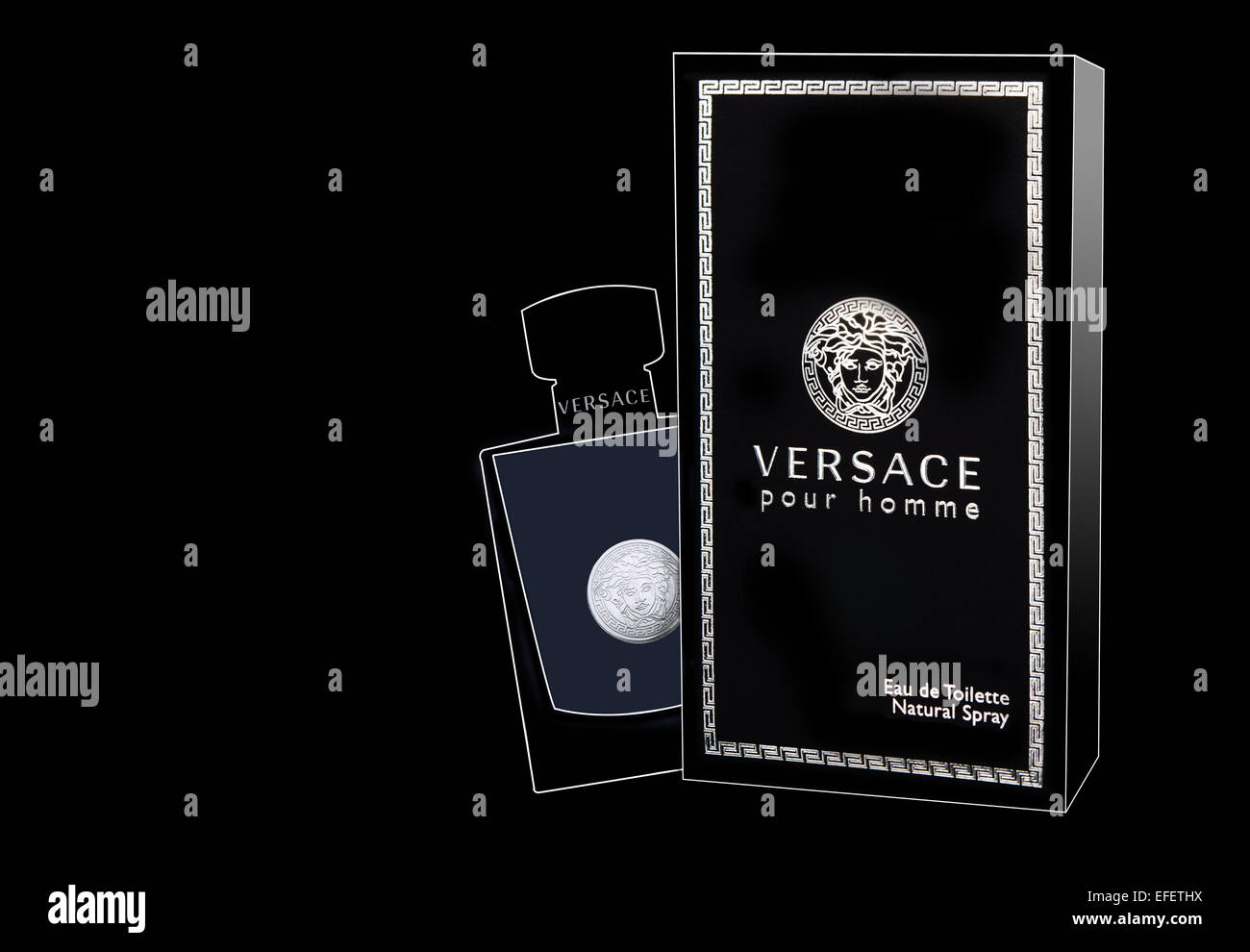 Versace pour homme outlined box and bottle for product photography on black background Stock Photo