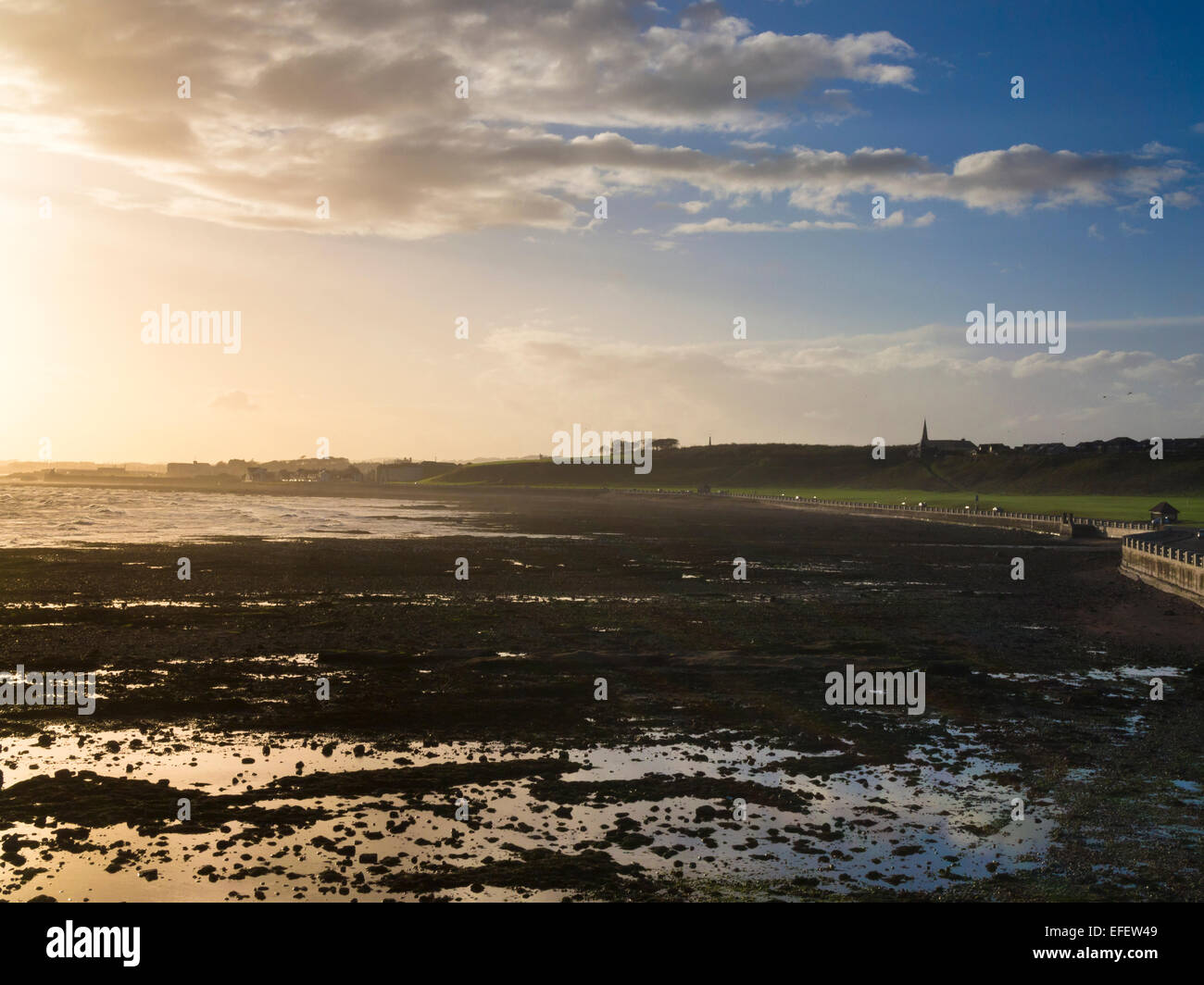 Sunsetting on the beachfront by Victoria Park in Arbroath, Scotland - Stock Image