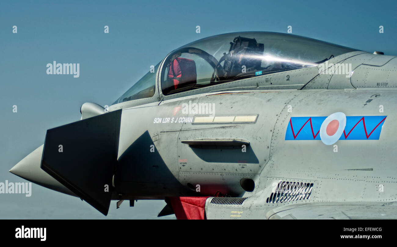 The Eurofighter Typhoon is a twin-engine, canard-delta wing, multirole fighter. Stock Photo