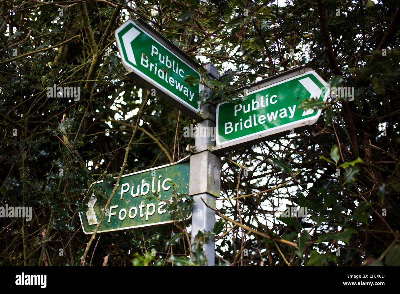 A sign showing public rights of way. - Stock Image