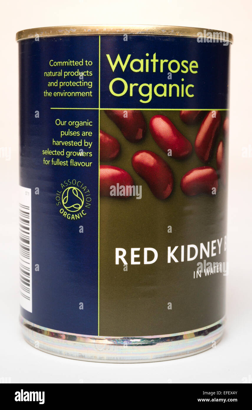 A tin of Waitrose Organic Red Kidney Beans - Stock Image