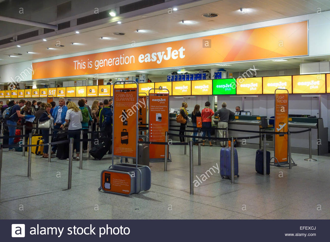 Easyjet check in desk at London Gatwick Airport Stock Photo