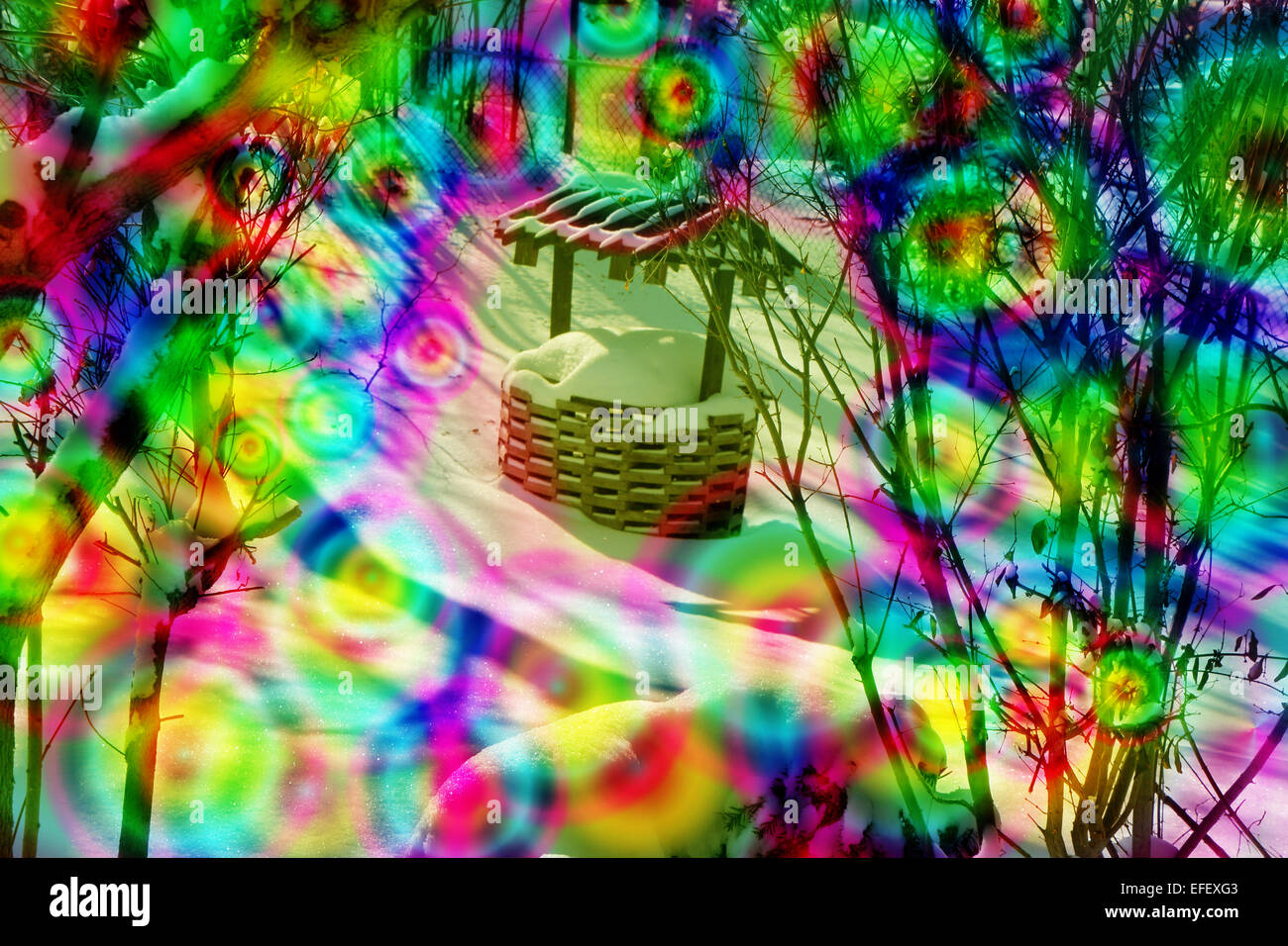 a wishing well , circles of color, trees in back,magical,money,dream,dreams - Stock Image