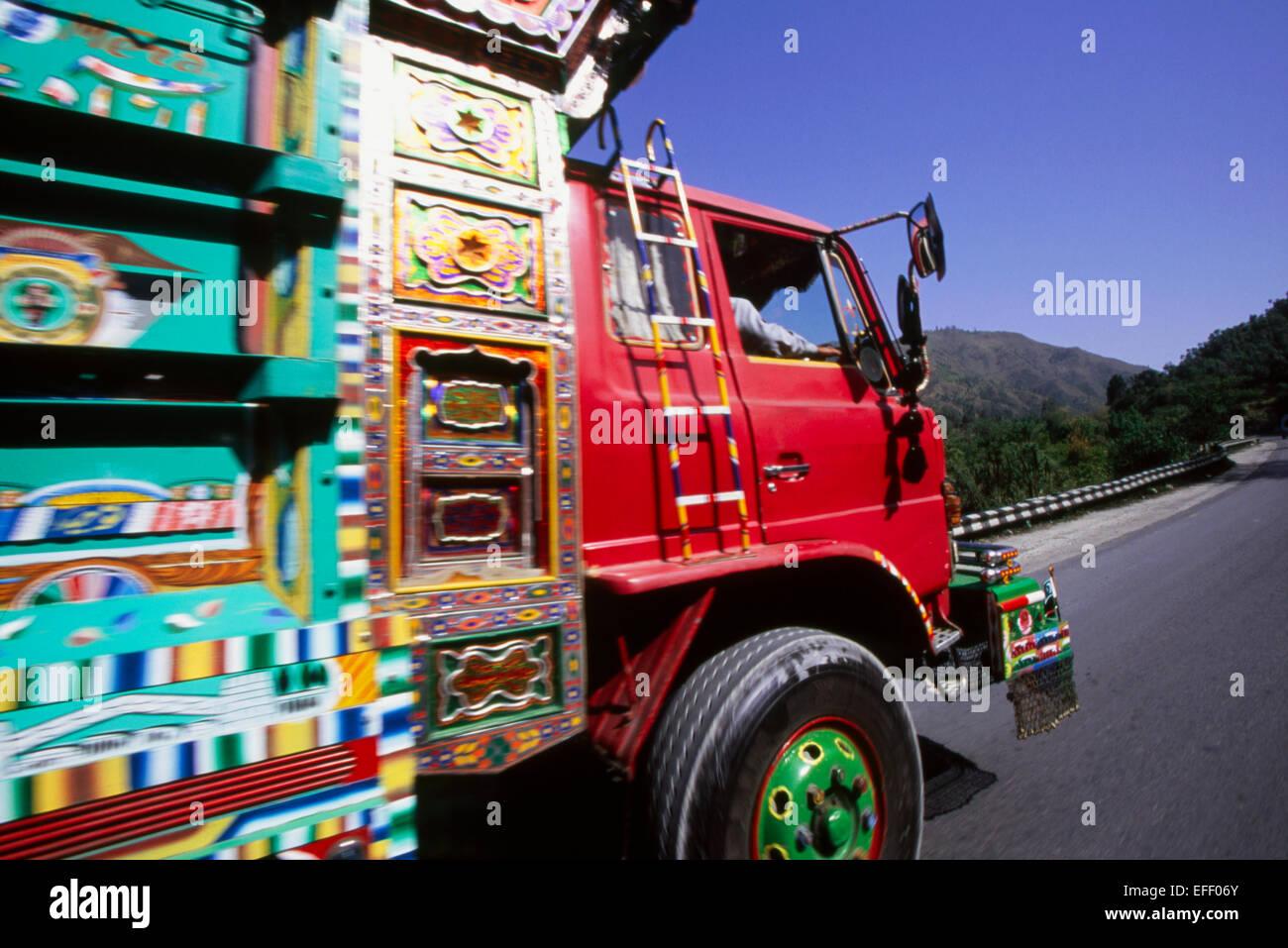 truck in foothills of Karakoram highway, KKH, - Stock Image