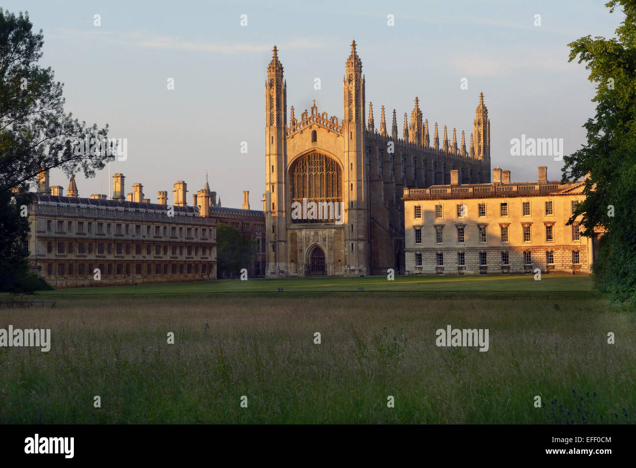 Kings College Chapel  Cambridge  taken across the Back Lawn with the Gibbs building right, and Clare College left. - Stock Image