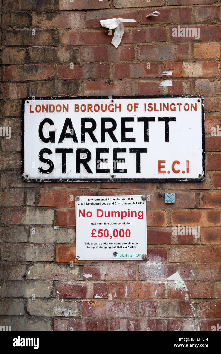 Garrett Street Islington EC1 - Stock Image