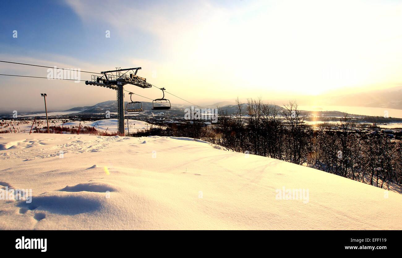 Norway Ski Resort Chair Lift. - Stock Image