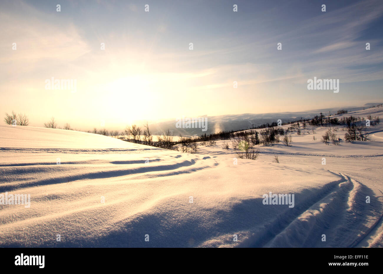 Snow Covered Mountain Tracks. - Stock Image