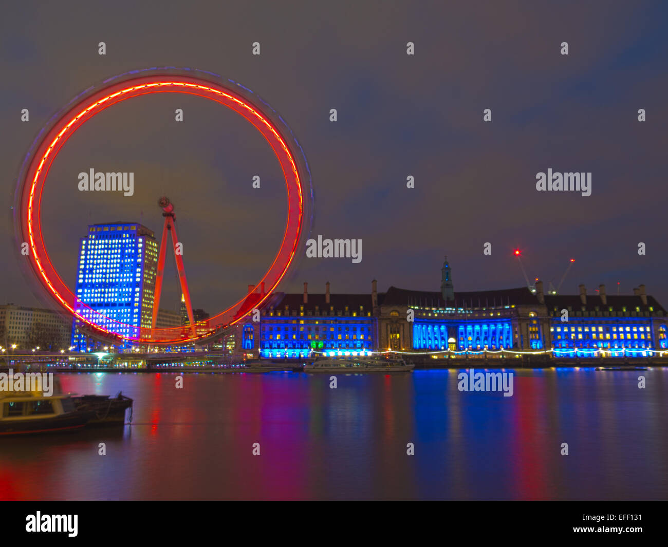 The London Eye at night - Stock Image