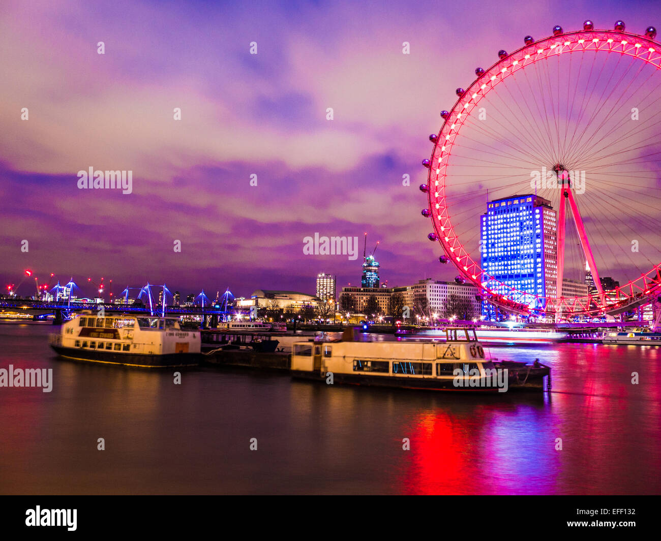 A view over the River Thames to the London Eye Stock Photo