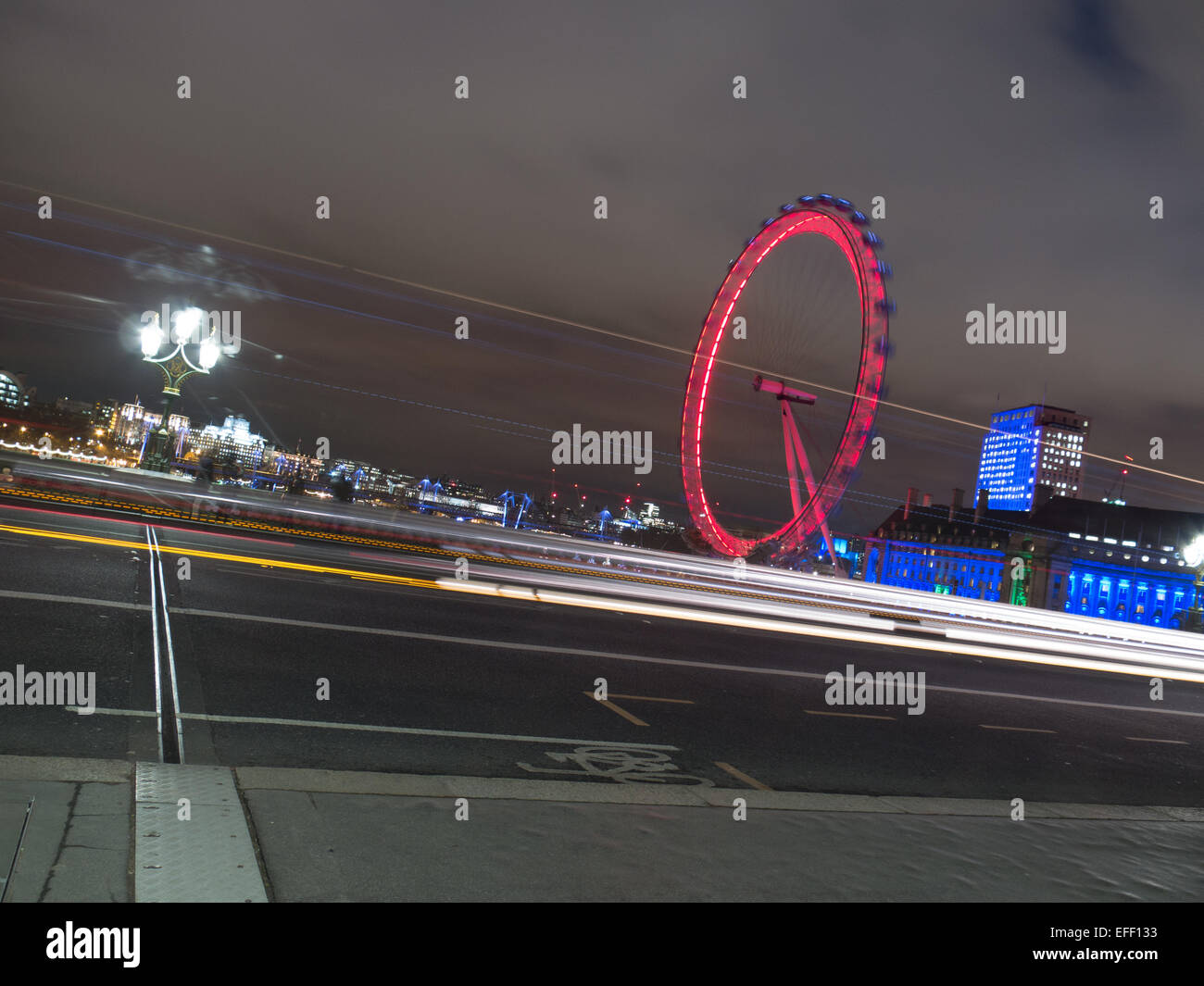 Traffic Passing in front of The London Eye - Stock Image