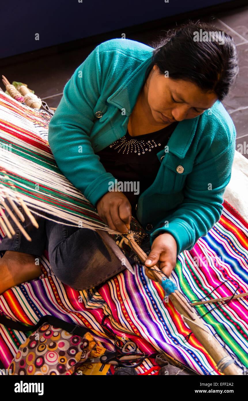 Peruvian Indigenous artisan women .Andean women. - Stock Image
