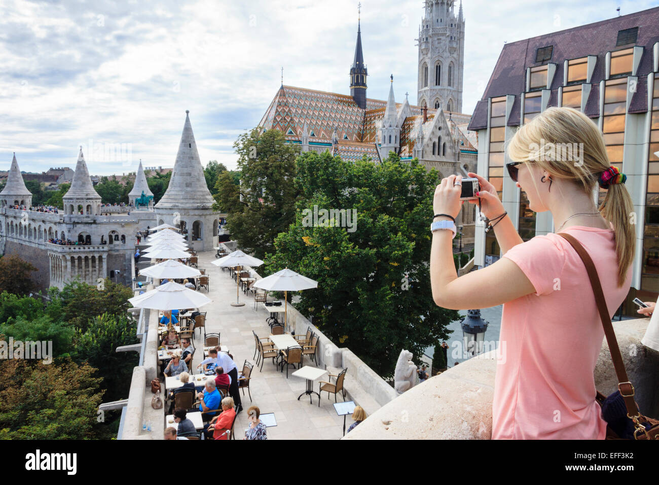 Young female tourist at Fisherman's bastion, Budapest, Hungary - Stock Image