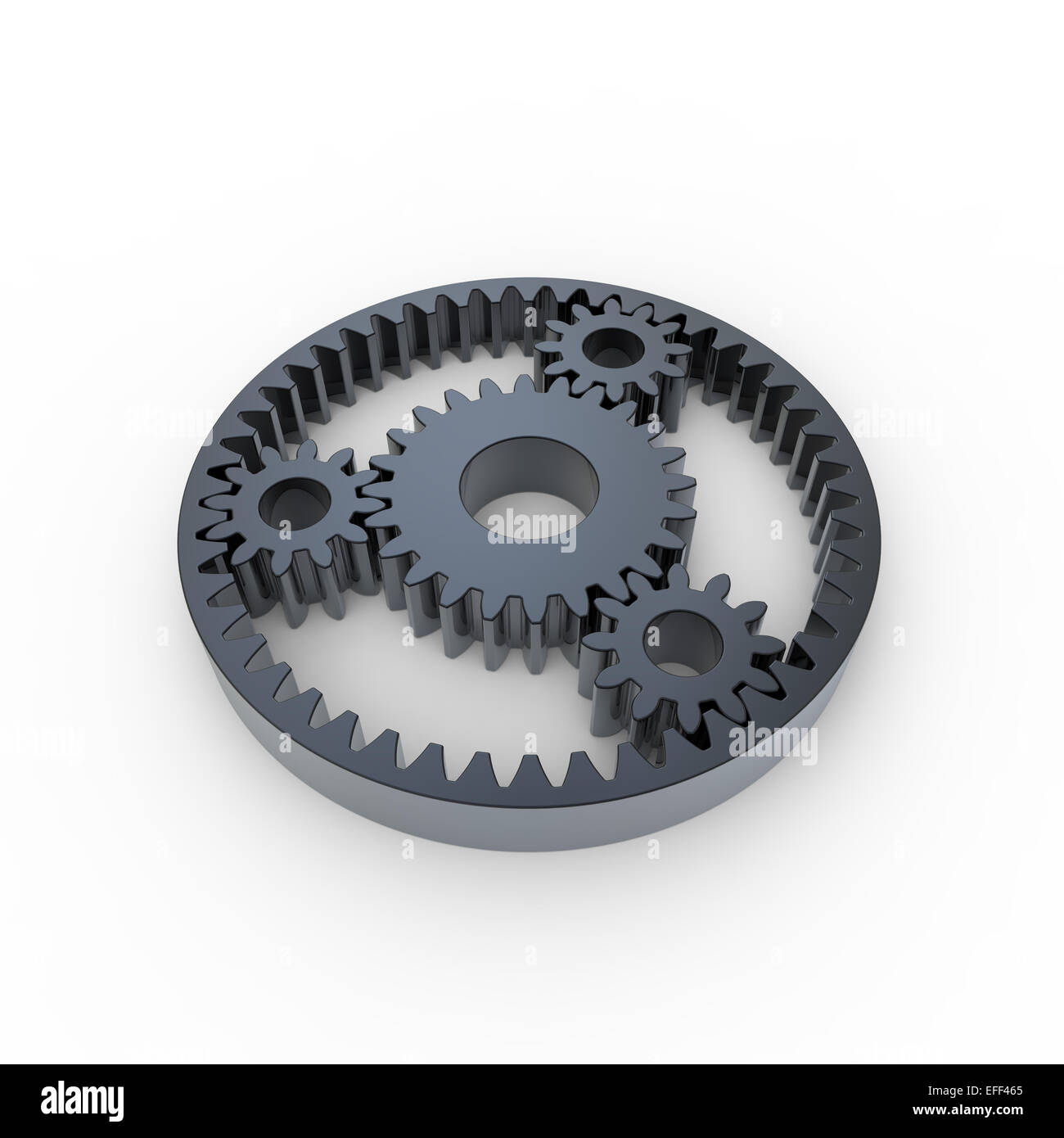 black anodized steel planetary gears on a white background - Stock Image