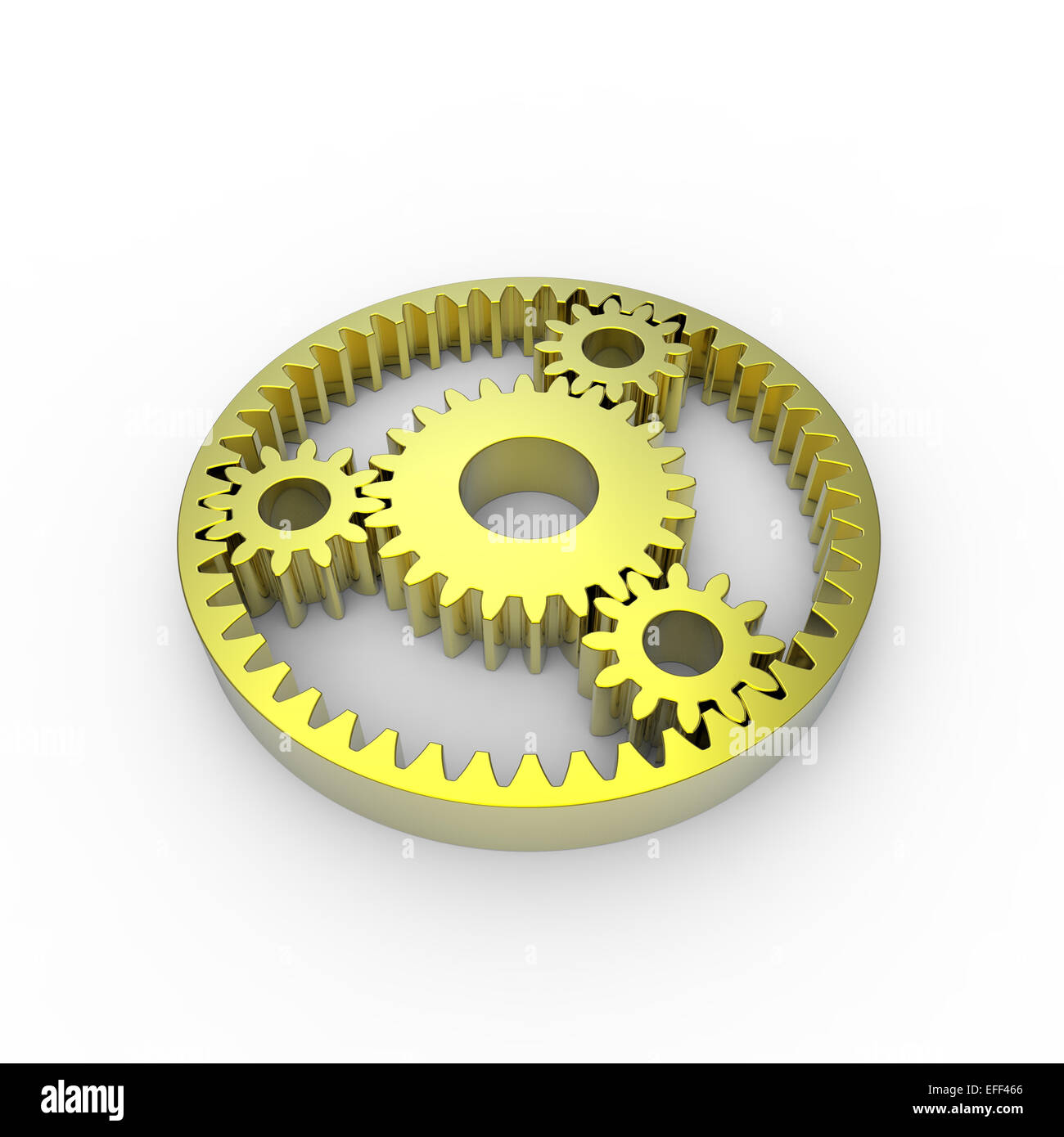 yellow anodized steel planetary gears on a white background - Stock Image