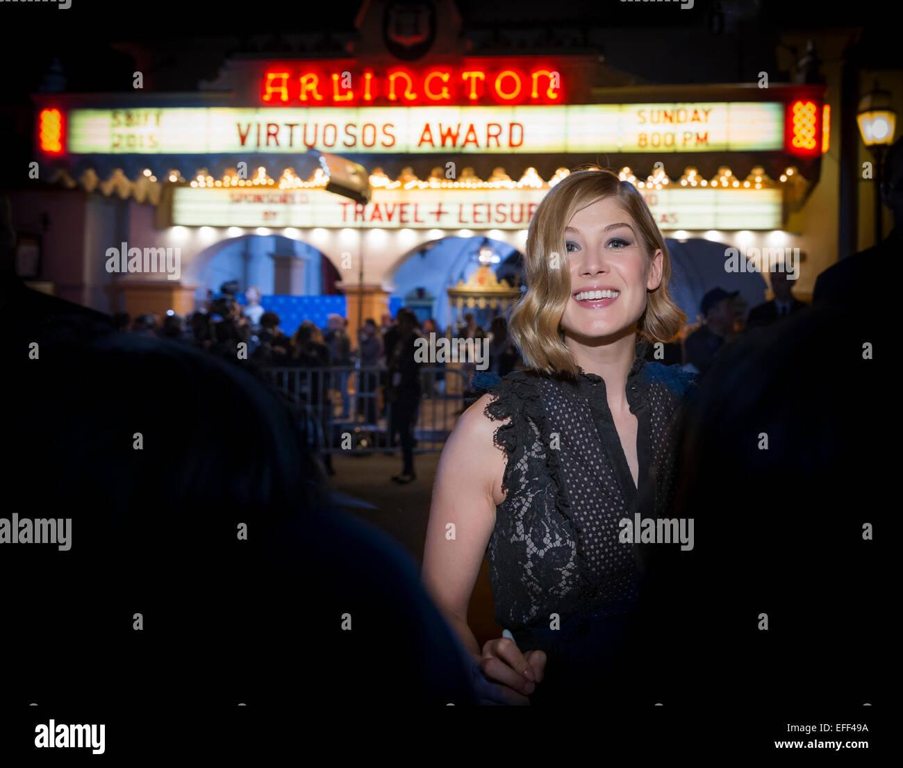 Santa Barbara, California, USA. 1st Feb, 2015. Actress Rosamund Pike greets fans outside the Arlington Theatre at - Stock Image