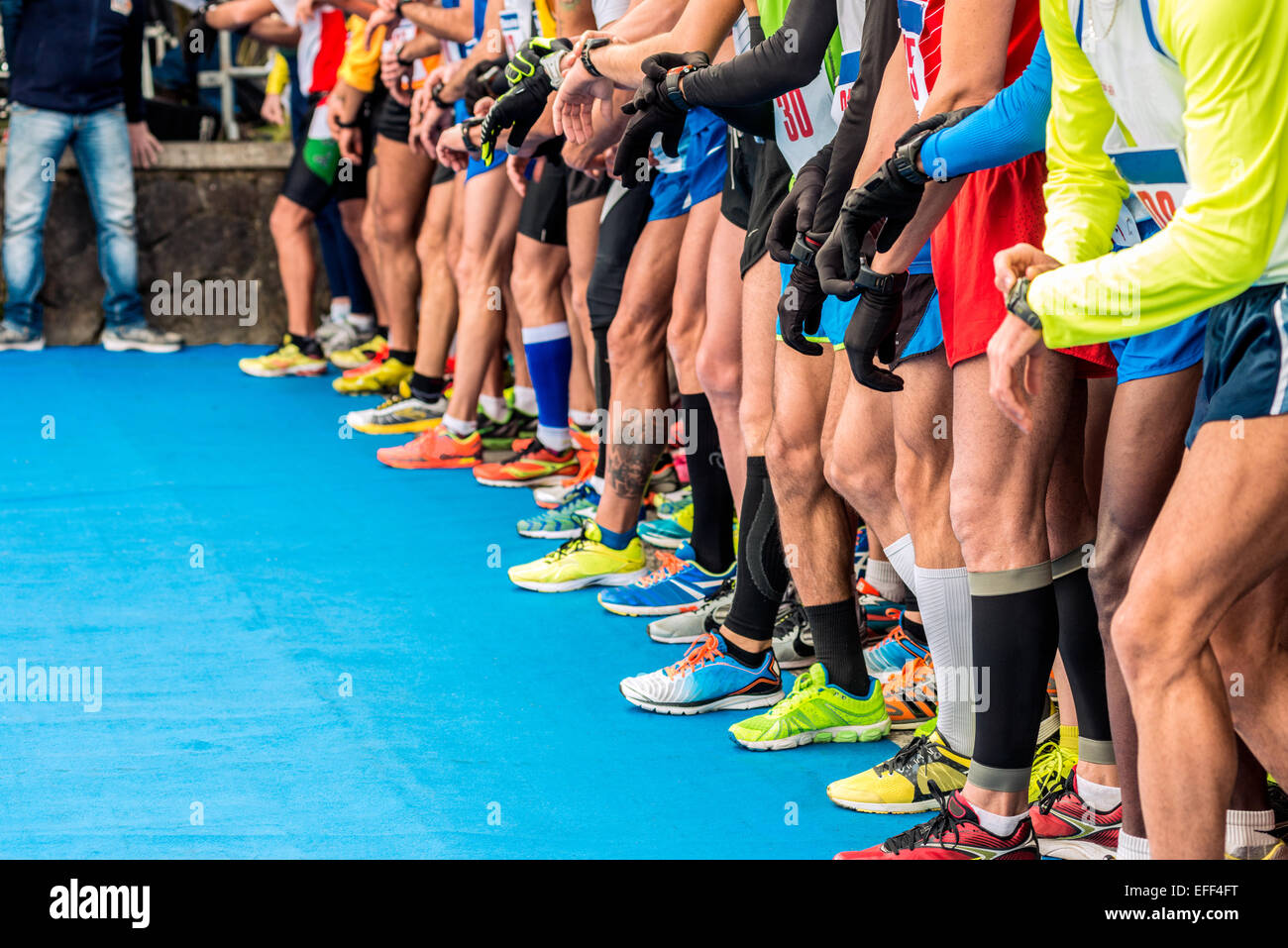 runners at the starting line - Stock Image