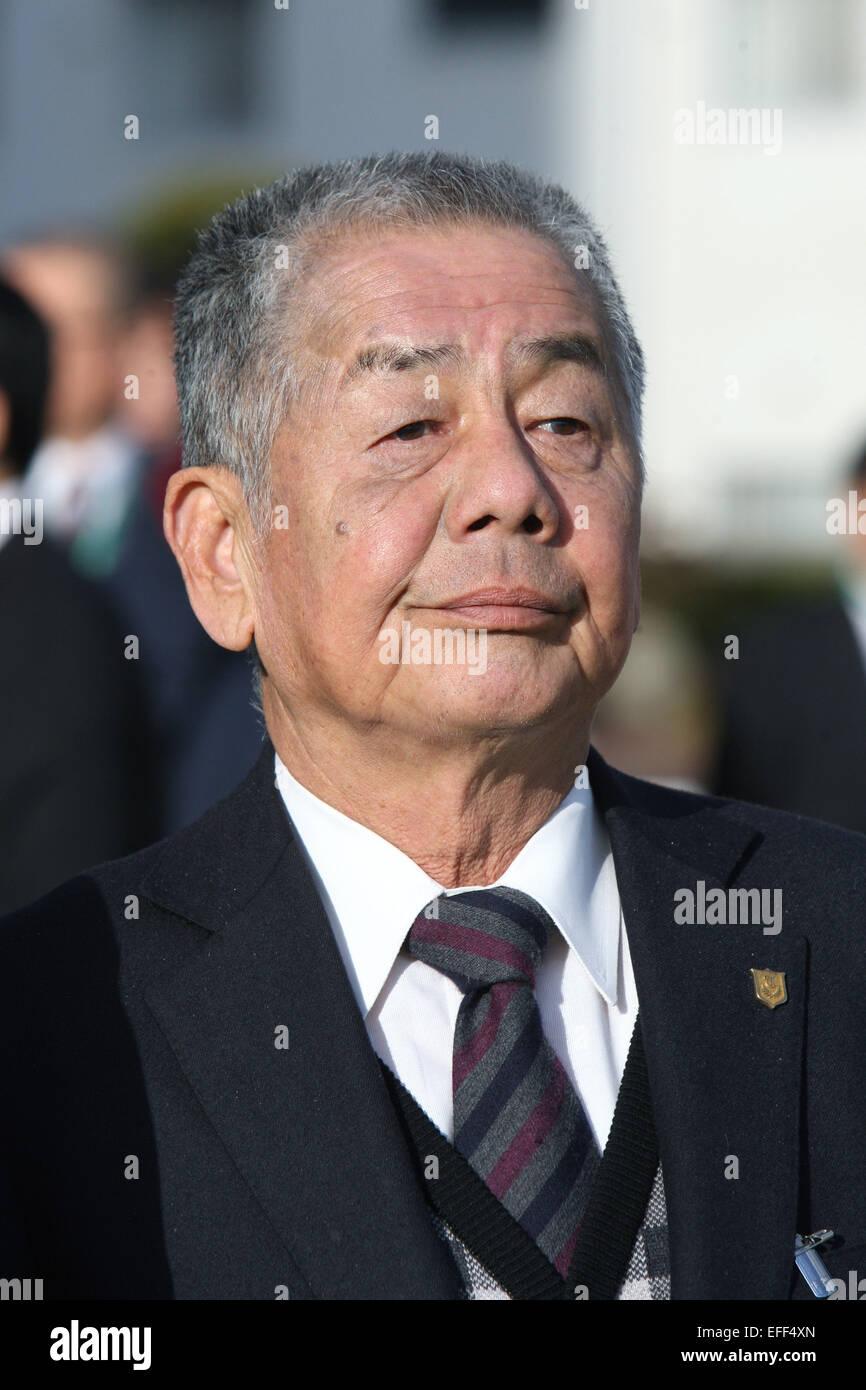 Kyoto, Japan. 1st Feb, 2015. Nobuharu Fukushima Horse Racing : Trainer Nobuharu Fukushima after Am Ball Bleiben - Stock Image