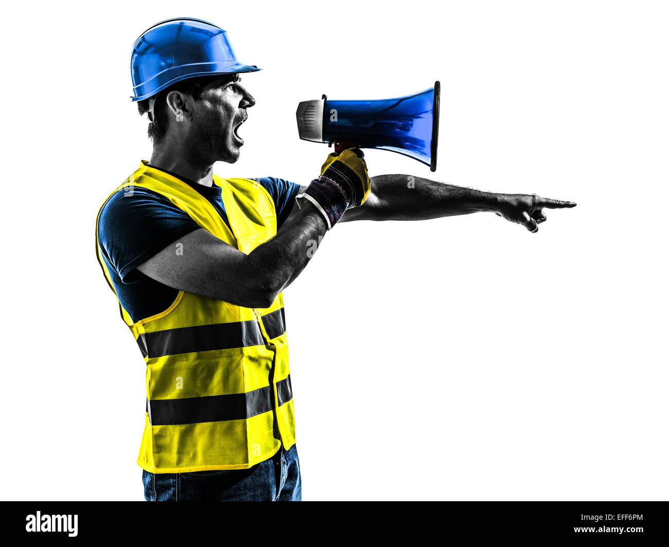 one construction worker signaling with safety vest silhouette isolated in white background - Stock Image